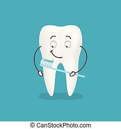 carino, illustration., isolato, dente, spazzolino, fondo., vettore, pasta, cartone animato