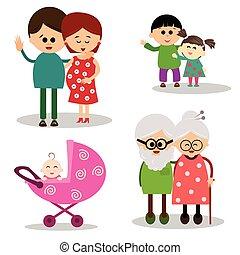 carino, illustrazione, famiglia, wh