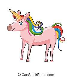 carino, illustrazione, isolato, vettore, fondo, unicorno, bianco, cartone animato