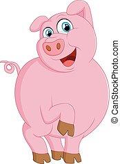carino, illustrazione, maiale