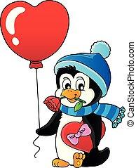 carino, immagine, 3, valentina, tema, pinguino