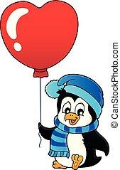 carino, immagine, valentina, 1, tema, pinguino