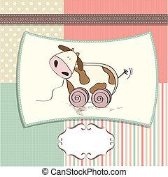 carino, infantile, giocattolo, scheda, mucca