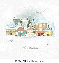 carino, inverno, città, allegro, invito, natale., life., scheda