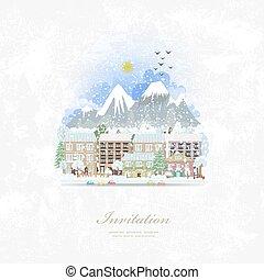carino, inverno, vendemmia, viaggiare, cityscape., invito, scheda