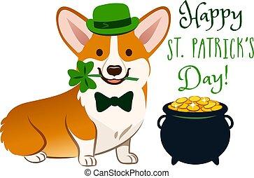 """carino, irlandese, costume:, folclore, oro, vaso, trifoglio, mouth., cravatta, st., presa a terra, vacanza, cappello, pieno, monete, gallese, text., theme., day!"""", giorno, bowler, cane, arco, verde, corgi, patrick's"""