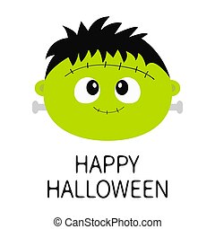 carino, isolated., sinistro, character., frankenstein, design., divertente, card., fondo., bianco, felice, appartamento, mostro, zombie, bambino, cartone animato, halloween., augurio, faccia, verde, head., icon., rotondo
