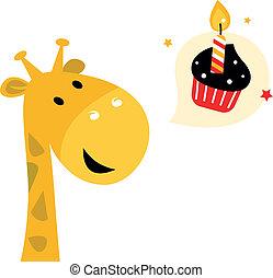 carino, isolato, cupcake, giraffa, festa, bianco