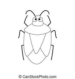 carino, isolato, illustrazione, fondo., vettore, scarabeo, bianco, cartone animato