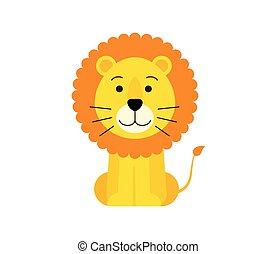 carino, isolato, illustrazione, leone, vettore, fondo, bianco, cartone animato