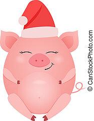 carino, isolato, illustrazione, maiale, vettore, fondo, bianco, cartone animato