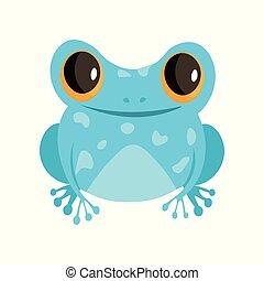 carino, isolato, rana, fondo, bianco, cartone animato