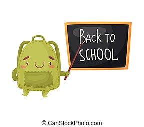 carino, istruire sacchetto, illustrazione, fondo., vettore, verde, board., bianco, puntatore