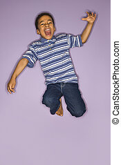 carino, jumping., ragazzo