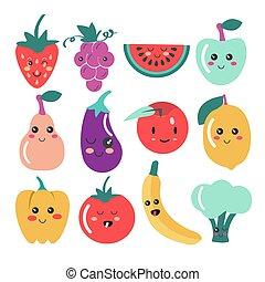 carino, kawaii, frutta, e, verdura, icons.