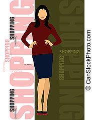 carino, lady., vettore, shopping, colorato