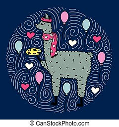carino, lama-artist, hand-drawn, illustrazione, palette.
