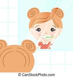 carino, lei, dentifricio, toothbrush., illustrazione, vettore, denti puliscono, ragazza, felice, brushing.