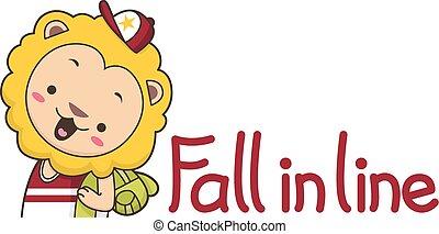 carino, leone, caduta, linea