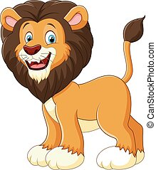 carino, leone, cartone animato