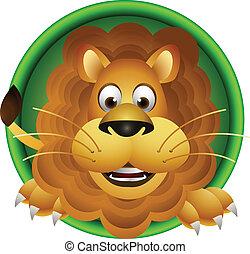 carino, leone, testa, cartone animato