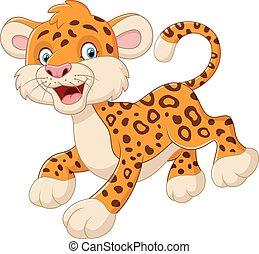 carino, leopardo, cartone animato