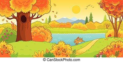 carino, lepre, forest., correndo, attraverso, autunno