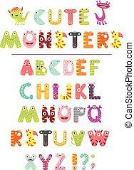 carino, lettere, forma, alfabeto, cartone animato, vettore, mostri