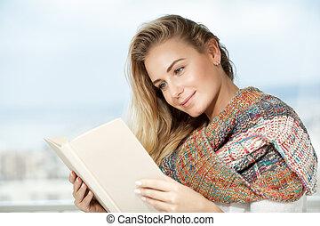 carino, lettura donna, il, libro