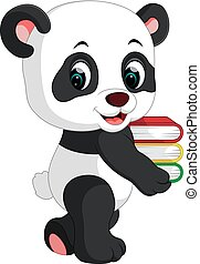 carino, libri, panda, presa a terra