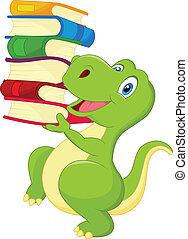 carino, libro, cartone animato, dinosauro