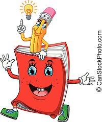 carino, libro, cartone animato, matita