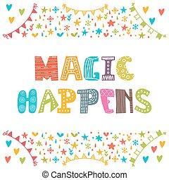 carino, magia, semplice, motivazionale, quote., mano,...