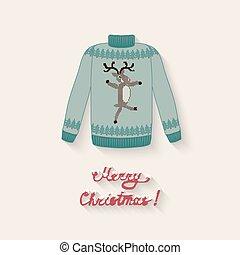 carino, maglione, cervo, natale