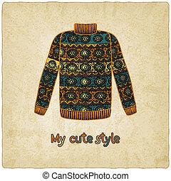 carino, maglione, vecchio, fondo