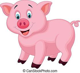 carino, maiale, cartone animato