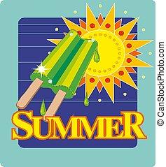carino, manifesto, cream., estate, cartolina, sole, immagine, ghiaccio, cartone animato, sticker., vettore, o