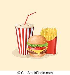 carino, manifesto, hamburger, disegno, tazza, -, imballaggio, digiuno, fondo., elementi, illustrazione, cibo., francese, opuscolo, pubblicità, cartone animato, grafico, colorato, frigge, menu, vettore, picture., soda, o