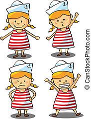 carino, marinaio, ragazza