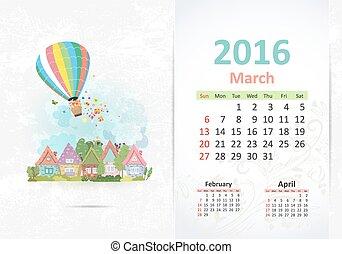 carino, marzo, town., dolce, 2016, calendario
