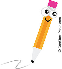 carino, matita, carattere, isolato, bianco, cartone animato