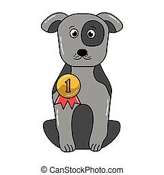 carino, medaglia, cane, premio, seduta
