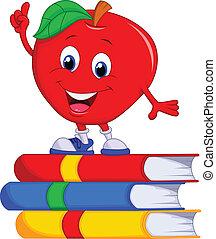 carino, mela, indicare, cartone animato, pinna, relativo