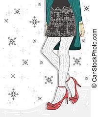 carino, moda, inverno, fondo.