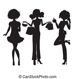 carino, moda, ragazze, tre