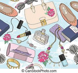 carino, moda, seamless, modello