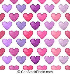carino, modello cuore, seamless, isolato, fondo, bianco, baluginante