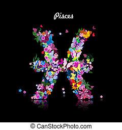 carino, modello, farfalle, segno, pesci, zodiaco