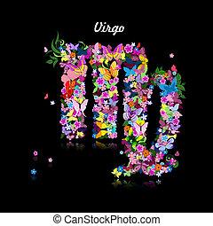 carino, modello, farfalle, segno, vergine, zodiaco