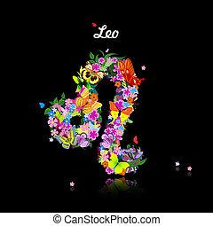 carino, modello, farfalle, -, segno, zodiaco, leo